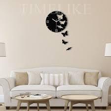 living room wall clocks. Wholesale Living Room Decorative Wall Sticker Clock Diy Acrylic Mirror Butterfly Shape Creative Gift Art Watch Designer Clocks Online C
