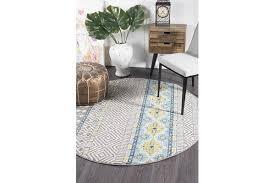 smith amelia blue yellow grey coastal durable round rug 150x150cm rugs