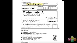 gcse maths edexcel june 2016 1h higher non calculator