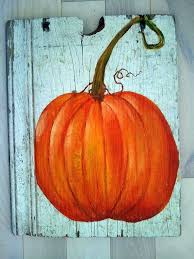 painting on old wood pumpkin acrylic painting on old barn wood by mrsgobel on