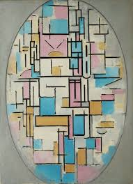 piet mondrian composition in oval with color planes 1914 oil on canvas museum of modern art new york city