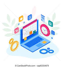 Isometric Weekly Schedule And Calendar Planner Organization Management Online App On Laptop Business Workflow Time Management Planning Task App