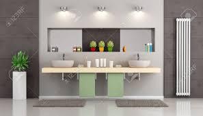 Moderne Badezimmer Mit Doppelwaschbecken Auf Hölzernen Regal Nische