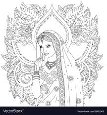 Indian Girl Coloring Pages Royalty Free Vector Image