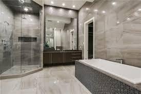 modern master bathroom. Modern Master Bathroom With Rain Shower Head, High Ceiling, Stone Tile, Drop-