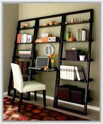 ladder bookcase desk a leaning ladder bookshelf with desk in the center and white cushioned chair