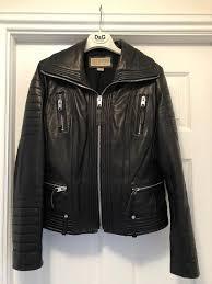 michael kors black leather biker jacket in excellent condition