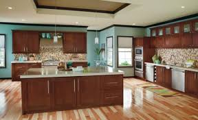 Delighful Kitchen Wall Colors With Cherry Cabinets Using Sky For Simple Design