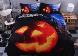 3d pumpkin printed polyester 4 piece blue bedding sets duvet covers