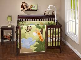 exquisite image of safari baby nursery room decoration using colorful monkey baby bedding set including light
