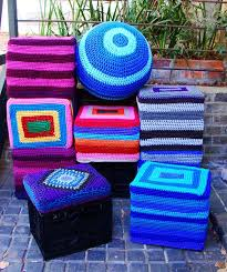 crochet milk crate covers leave top open to turn into storage stool for seating have a top made with some foam for cushioning
