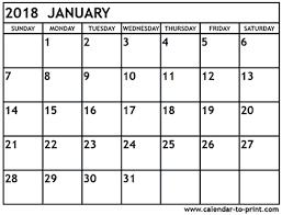 january 2018 calendar free january 2018 calendar printable