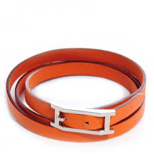 hermes chamonix hapi 3 mm triple tour wrap bracelet size small orange 64312