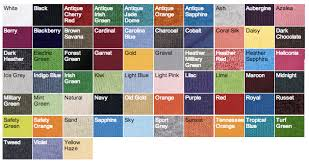 Gildan Color Chart 5000 Gildan 5000 Custom Prinitng Faveurink