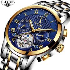 Top Brand <b>LIGE Luxury Automatic Mechanical</b> Watch Men Full Steel ...