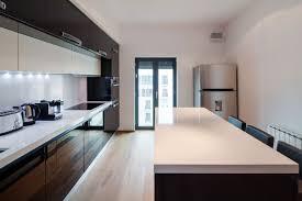 apartment kitchen design.  Apartment Extraordinary Sleek Apartment Kitchen Design White Oak Flooring Model 25 In