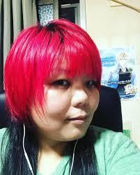 イメチェンしましたฅ๑ฅキャ 黒髪じゃなくて赤髪マニパニのホット