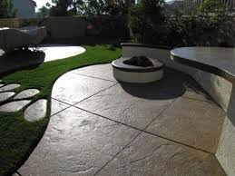 modern concrete patio. Modern Backyard With Stamped Concrete Patio