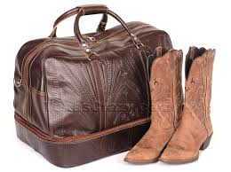 8394 tooled leather boot bag duffel
