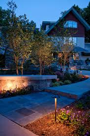 pathway lighting ideas. Curb Appeal In Landscape Design Ideas With Pathway Lighting And Also Faux Stone Wall Garden Cement Cap Plus Coping