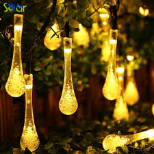 string lighting indoor. 20 LED Water Drop Solar Powered String Lights Fairy Light For Wedding Christmas Party Festival Outdoor Indoor Decoration-in Lamps From Lighting R