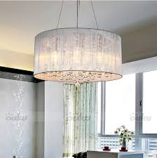 modern drum pendant lamp light chandelier crystal fabric ceiling for remodel 6