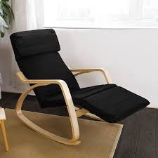 Amazon.com: Haotian Relax Rocking Chair with Foot Rest Design, Lounge Chair,  Recliners Poly-cotton Fabric Cushion ,FST16-SCH,Black Color: Baby