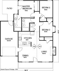 Square Kitchen Floor Plans Cottage Style House Plan 3 Beds 200 Baths 1050 Sq Ft Plan 56 104