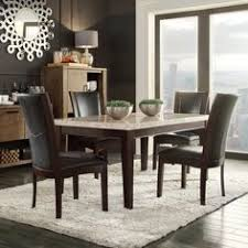 bring contemporary elegance to your dining area with this sonata dining room set featuring a dark brown wood table with a light marble top
