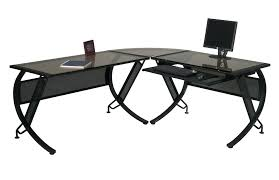 black glass desk glass top l shaped desk black metal glass top desk with keyboard tray