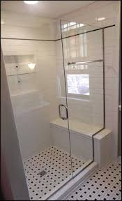 Cool Shower Seat Ideas : Astonishing Bathroom Design With Shower Stall  Using White Ceramic Wall Tiles