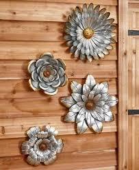 4 galvanized metal flower wall art sculptures indoor outdoor decor set of 4
