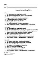 Compare Contrast Essay Rubric Compare Contrast Essay Rubric Rubrics Compare Contrast