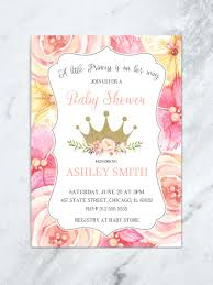 baby girl invite pink and gold floral princess baby shower invitation floral