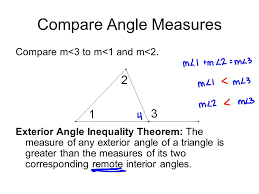 proof exterior angle inequality theorem. compare angle measures m\u003c3 to m\u003c1 and m\u003c2. proof exterior inequality theorem