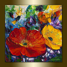 poppy poppies fl canvas modern flower oil painting textured palette knife original art 16x16 by willson lau