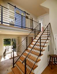 Cool Stair Rails look Philadelphia Eclectic Staircase Innovative Designs  with barn door blue door contemporary stair railing entrance entry floor  tile hall ...