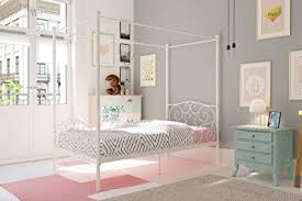 Amazon.com: DHP Canopy Bed with Sturdy Bed Frame, Metal, Twin Size ...