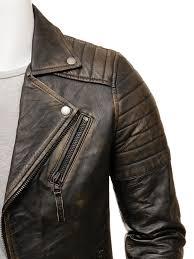 men s vintage leather biker jacket bucll side