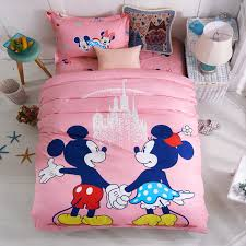 disney pink mickey minnie mouse bedding sets girls bedroom decor 100 cotton bedsheet duvet cover