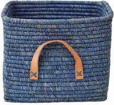 basket with leather handles blue 38 90