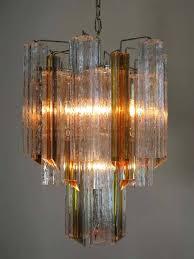 italian vintage murano glass chandelier glass triedri for at 1stdibs