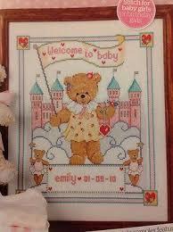 Teddy Bear Chart B Teddy Bear And Castle New Baby Birth Sampler Cross Stitch