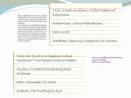 what is a works cited page as you should know the citations you  title school uniforms stifle dom of expression publication school publications date 2008 database