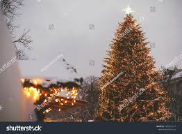 Plant City Christmas Lights Stylish Christmas Tree Golden Lights Illuminated Stock Photo
