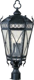 maxim lighting canterbury forged iron traditional outdoor post lantern light
