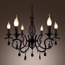 glittering crystal accent delicate scrolls black wrought iron chandelier