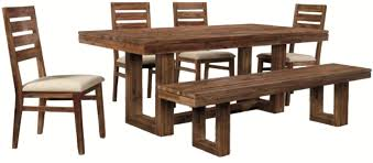 Cresent Fine Furniture Waverly Six-Piece Modern-Rustic Rectangular Trestle  Table with Ladderback Side Chairs & Dining Bench Set - AHFA - Table & Chair  Set ...
