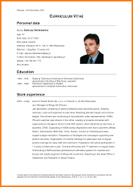 4 Cv In English Example Resume Pictures