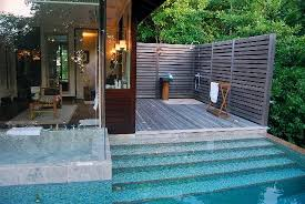 pool bathroom. Four Seasons Resort Seychelles: Private Pool, Bathroom And External Shower Pool